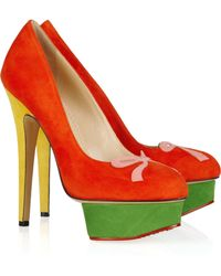 Charlotte Olympia Arabella Colorblock Suede Platform Pumps red - Lyst