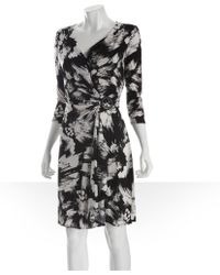Max & Cleo - Black and White Printed Stretch Jersey Buckle Wrap Dress - Lyst