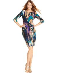Calvin Klein Three Quarter Sleeve Printed Dress - Lyst