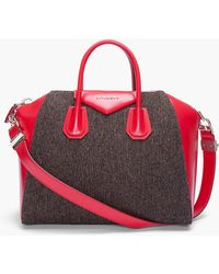 Givenchy Tweed and Red Leather Antigona Duffle Bag - Lyst