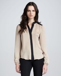 Theory Gerine Contrast Blouse - Lyst