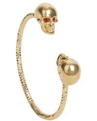 Alexander McQueen Goldred Crystal Twin Skull Bangle - Lyst