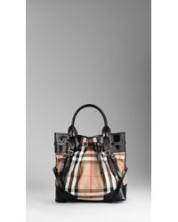 Burberry Medium House Check Bridle Leather Tote Bag - Lyst