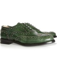 Church's Burwood Studded Glossed Leather Brogues - Lyst