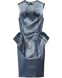 Hakaan Pogo Textured Wool-blend Peplum Dress blue - Lyst