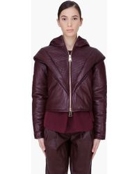 Hakaan Burgundy Padded Leather Bess Hoodie - Lyst