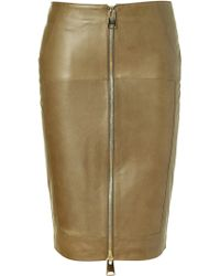 Hakaan - Khaki Leather Pencil Skirt - Lyst
