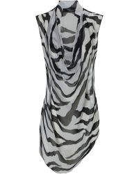 Jane Norman Zebra Print Sleeveless Cowl Neck Shirt - Lyst