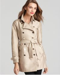 Sam Edelman Double Breasted Trench with Studded Shoulders beige - Lyst