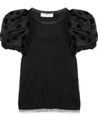 Valentino Puffsleeved Jersey and Lace Top - Lyst