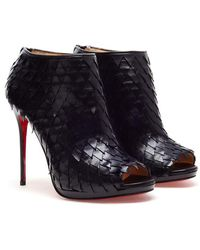 Christian Louboutin Diplonana Leather Peep Toe Ankle Boots - Lyst