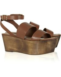 Elizabeth And James Leather and Wood Platform Sandals - Lyst