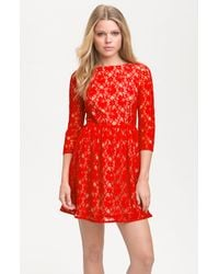 French Connection Lizzie Lace Dress red - Lyst