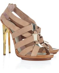 Hervé Léger Clara Metal and Leather Sandals - Lyst