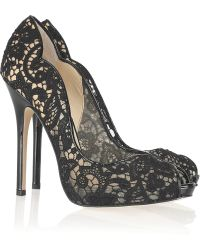 Jimmy Choo Faith Lace and Patentleather Pumps - Lyst