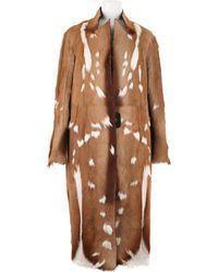 Revillon Maxi Coat in Short Haired Natural Antilop Fur - Lyst