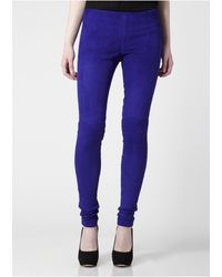 Victoria Beckham Suede Leggings Electric Blue - Lyst