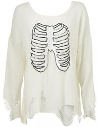 Wildfox Wildfox Sparkly Skeleton Knit Clean White - Lyst