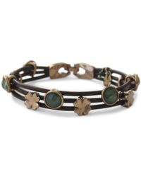 Lucky Brand Gold-Tone Jade Stone Woven Leather Bracelet - Lyst