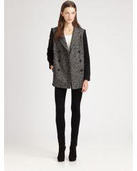 Tibi Bonded Tweed Peacoat - Lyst