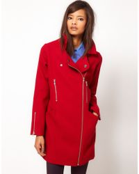 ASOS Collection Asos Biker Cocoon Coat - Lyst