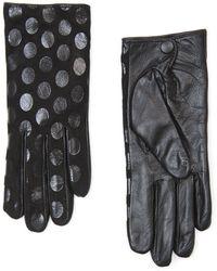Mango - Polkadot Leather Gloves - Lyst