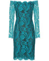 Emilio Pucci Chantilly Lace Off The Shoulder Dress blue - Lyst