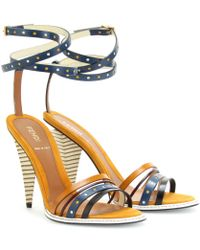 Fendi Colorblocked Strappy Leather Sandals - Lyst