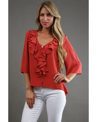 Fifteen-twenty Flare Sleeve Top in Persimmon - Lyst