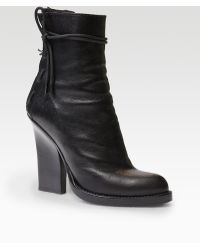 Haider Ackermann Leather Ostrichprint Laceup Ankle Boots - Lyst