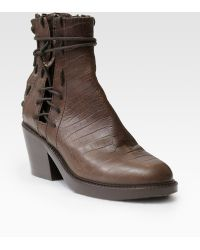 Haider Ackermann Crocodileprint Leather Laceup Ankle Boots - Lyst