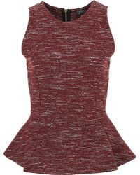 Topshop Sleeveless Boucle Peplum Top - Lyst