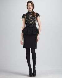 Alice + Olivia Robyn Lace Top Peplum Dress - Lyst