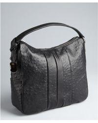 Furla Black Ostrich Embossed Leather Soho Hobo - Lyst