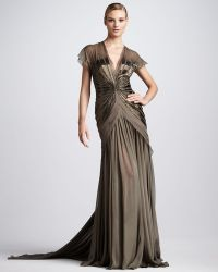 Pamella Roland Beaded Chiffon Gown - Lyst