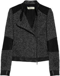 Vanessa Bruno Athé   Leather Trimmed Tweed Biker Jacket   Lyst
