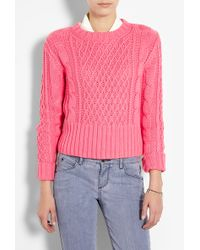 Acne Studios Lia Cable Knit Cropped Jumper - Lyst