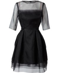 Lanvin Layered Silk Organdy Dress black - Lyst