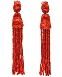 Oscar de la Renta Head Beaded Tassel Earrings - Lyst