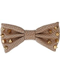 Topshop Studded Croc Bow beige - Lyst
