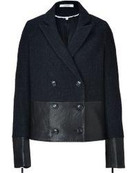 J Brand - Black Leather wool Alberta Pea Coat - Lyst