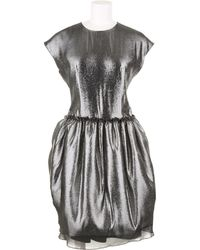 Julien David Metallic Grey Dress in Silk and Polyester Blend - Lyst
