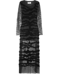 Maison Martin Margiela Embroidered Stretch-mesh Maxi Dress - Lyst