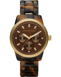 MICHAEL Michael Kors Tortoise Jet Set Watch - Lyst