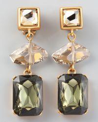 Oscar de la Renta Geometric Crystal Clip Earrings  - Lyst