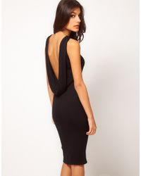 Asos Midi Dress with Cowl Back black - Lyst