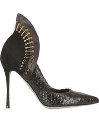 Sergio Rossi 100mm Python and Leather Staple Pumps - Lyst