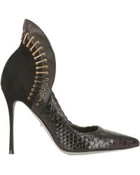 Sergio Rossi 100mm Python and Leather Staple Pumps black - Lyst
