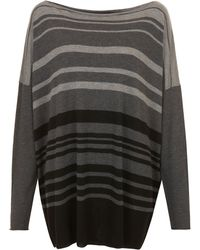 Vince Grey Stripe Draped Jumper - Lyst