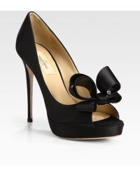 Valentino Satin Couture Bow Pumps black - Lyst